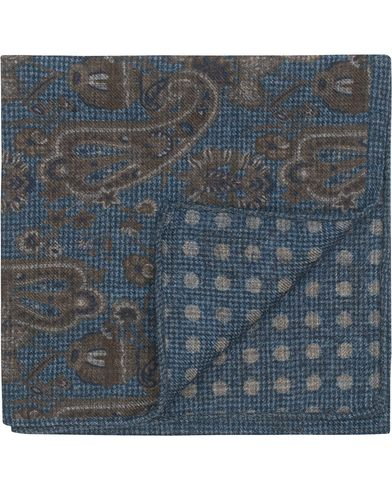 Stenströms Wool Doublefaced Printed Paisley Pocket Square Blue