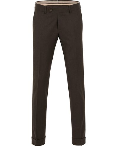 Morris Heritage Fred Flannel Turn Up Super 120 Trousers Brown