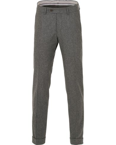 Morris Heritage Fred Heavy Flannel Turn Up Super 100 Trousers Dark Grey