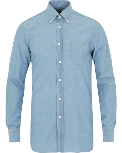 Morris Heritage Bond Chambray Button Down Shirt Light Wash
