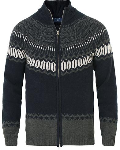GANT Fairisle Holiday Zip Jacket Navy