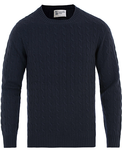 Johnstons of Elgin Cashmere Cable Crew Neck Navy