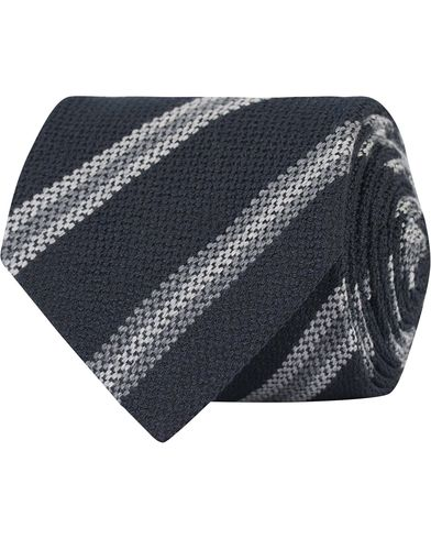 Amanda Christensen Silk/Wool  Stripe 8 cm Tie Navy