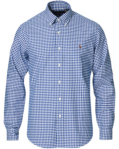 Polo Ralph Lauren Custom Fit Oxford Gingham Shirt Blue/White i gruppen Klær / Skjorter / Casual / Oxfordskjorter hos Care of Carl (14317711r)