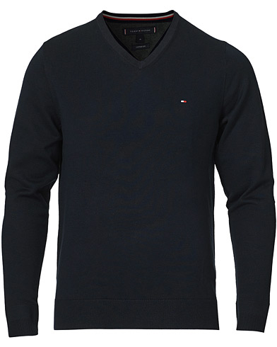 Tommy Hilfiger Cotton/Silk V-Neck Pullover Sky Captain i gruppen Klær / Gensere / Pullovers v-hals hos Care of Carl (14336411r)