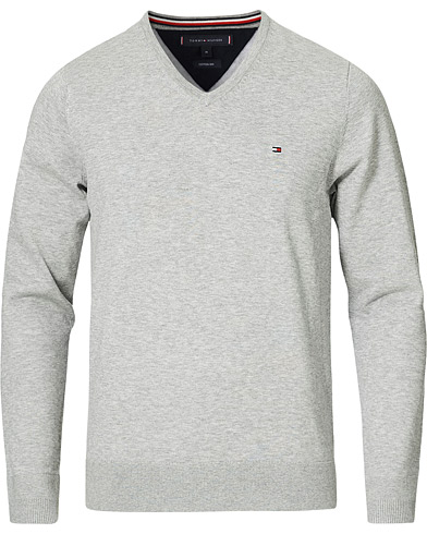 Tommy Hilfiger Cotton/Silk V-Neck Pullover Cloud Heather i gruppen Klær / Gensere / Pullovers v-hals hos Care of Carl (14336511r)