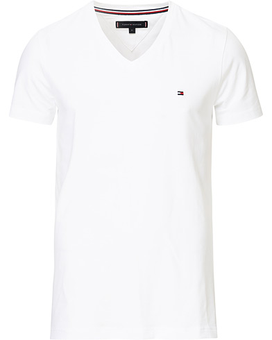 Tommy Hilfiger Slim Fit Stretch V-Neck Tee Bright White i gruppen Klær / T-Shirts / Kortermede t-shirts hos Care of Carl (14338611r)