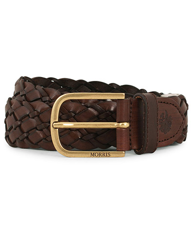 Morris Braided Leather 3,5 cm Belt Dark Brown i gruppen Assesoarer / Belter / Flettede belter hos Care of Carl (14357611r)
