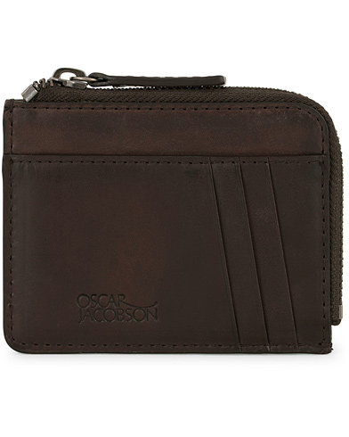 Oscar Jacobson Leather Zip Credit Card Holder Dark Brown  i gruppen Assesoarer / Lommebøker hos Care of Carl (14357910)