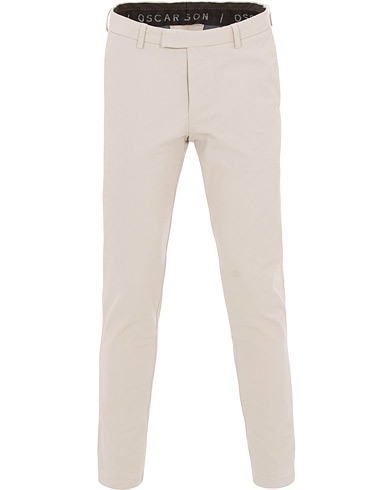 Oscar Jacobson Denzel Cotton Stretch Trousers Beige i gruppen Klær / Bukser / Chinos hos Care of Carl (14500711r)