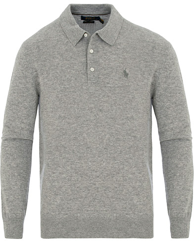 Polo Ralph Lauren Cashmere Button Pullover Grey Heather