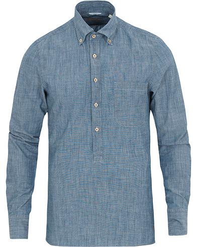 Stenströms Slimline Garment Washed Popover Shirt Light Blue
