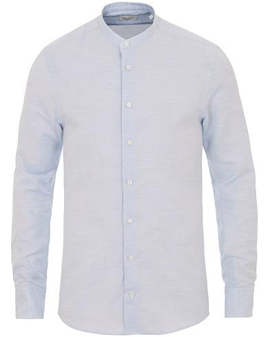 Stenströms Slimline Cotton/Linen Grandad Collar Shirt Light Blue
