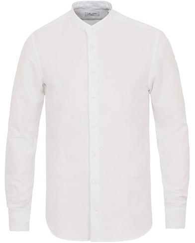 Stenströms Slimline Cotton/Linen Grandad Collar Shirt White