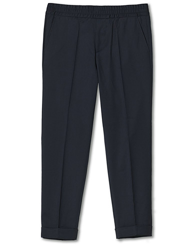 Filippa K Terry Gabardine Cropped Turn Up Trousers Navy i gruppen Klær / Bukser / Dressbukser hos Care of Carl (14621711r)