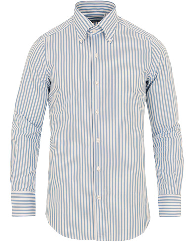 Finamore Napoli Milano Slim Fit Button Down Stripe Shirt Light Blue