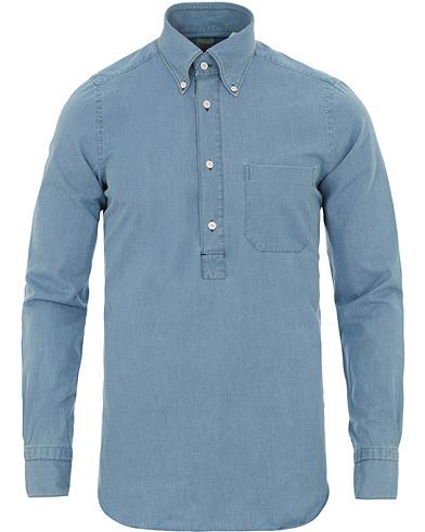 Finamore Napoli Miami Popover Chambray Pocket Shirt Bleached Blue