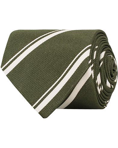Drake's Silk Stripe 8 cm Tie Green