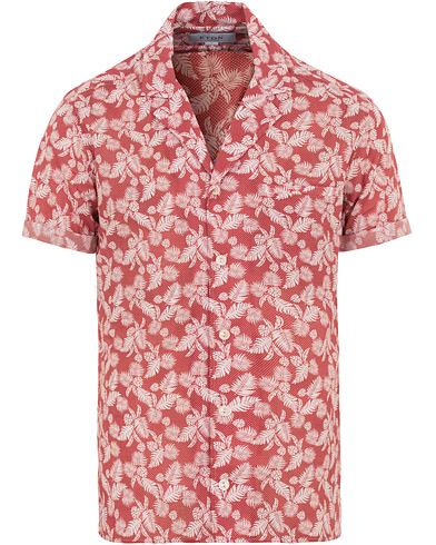 Eton Slim Fit Muslin Resort Printed Leaf Shirt Pink/Red