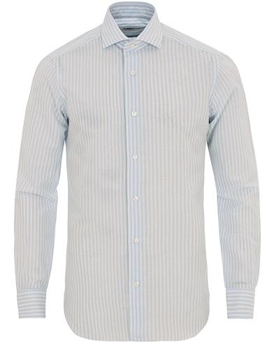 Barba Napoli Culto Slim Fit Linen Cut Away Stripe Shirt Blue