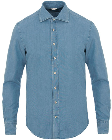 Stenströms Slimline Garment Washed Shirt Light Denim i gruppen Klær / Skjorter / Casual / Jeansskjorter hos Care of Carl (14753211r)