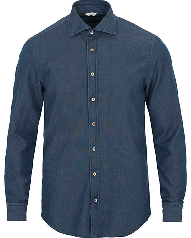 Stenströms Slimline Garment Washed Shirt Dark Denim i gruppen Klær / Skjorter / Casual / Jeansskjorter hos Care of Carl (14753311r)