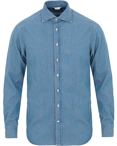 Stenströms Fitted Body Garment Washed Shirt Light Denim i gruppen Klær / Skjorter / Casual / Jeansskjorter hos Care of Carl (14753411r)