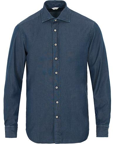 Stenströms Fitted Body Garment Washed Shirt Dark Denim