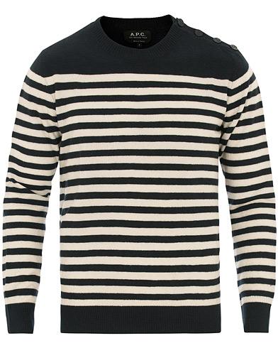 A.P.C Skye Button Stripe Knit Dark Navy/White