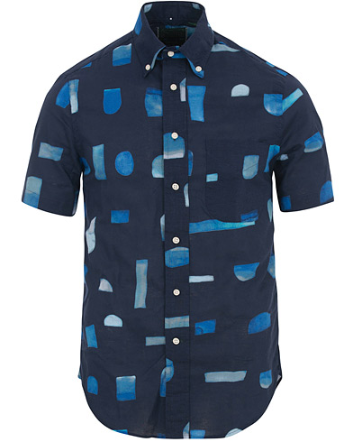 Gitman Vintage Button Down Short Sleeve Shirt Abstract Blues