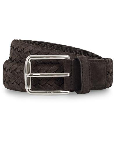 Tod's Intreccio Woven Belt 3,5 cm Dark Brown Suede