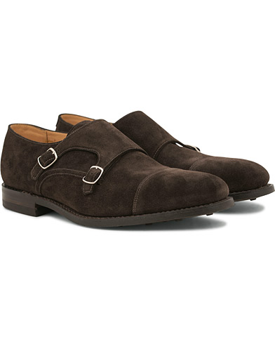 Loake 1880 MTO Cannon Dainite Monkstrap Dark Brown Suede