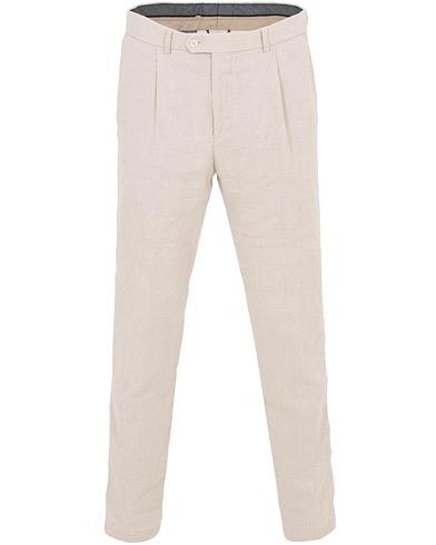 Oscar Jacobson Delon Cotton/Linen Garment Wash Pleated Trousers Beige