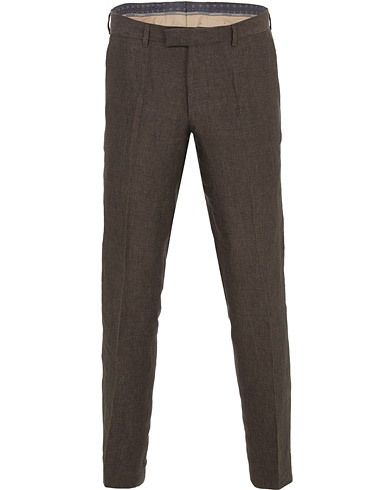 Oscar Jacobson Diego Linen Trousers Brown