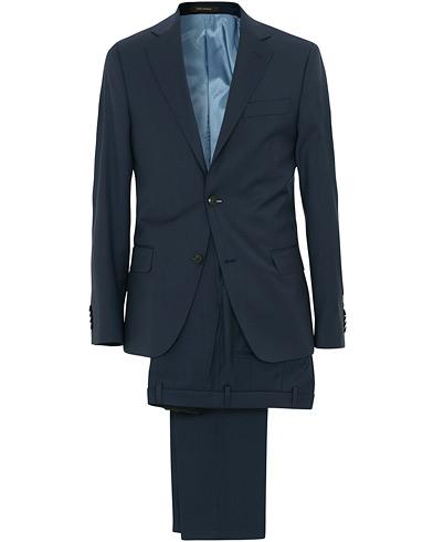 Oscar Jacobson Edmund Wool Stretch Suit Blue