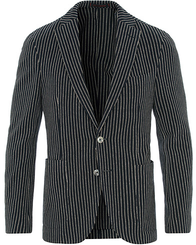 The Gigi Degas Stripe Stretch Cardigan/Blazer Navy/White