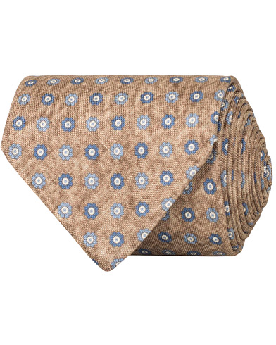 Amanda Christensen Silk Oxford Printed Flower 8 cm Tie Beige  i gruppen Assesoarer / Slips hos Care of Carl (14837410)