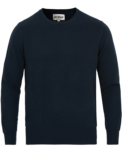 Soft Goat Cashmere O-neck Navy