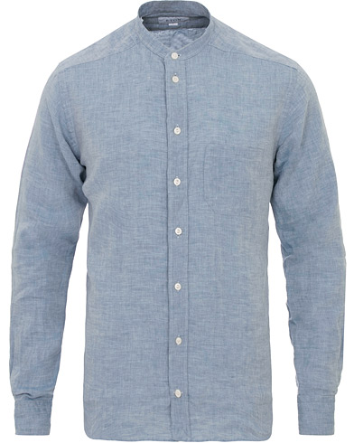 Eton Slim Fit Linen Grandad Collar Shirt Light Blue