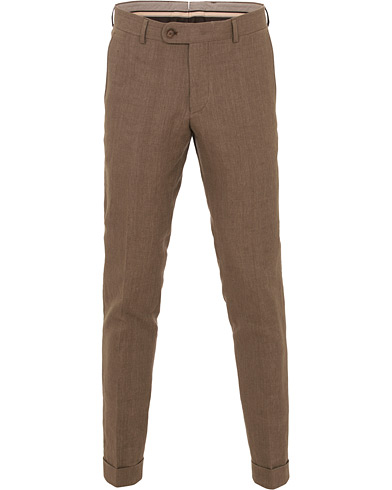 Morris Heritage Fred Oxford Linen/Cotton Turn Up Trousers Brown