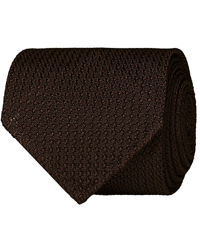 Drake's Silk Grenadine Handrolled 8 cm Tie Brown