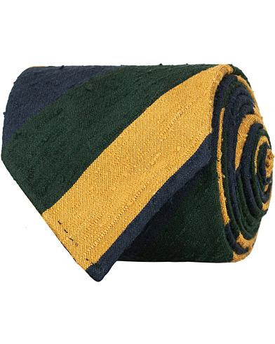 Drake's Shantung Silk Stripe Handrolled 8 cm Tie Green/Navy/Gold