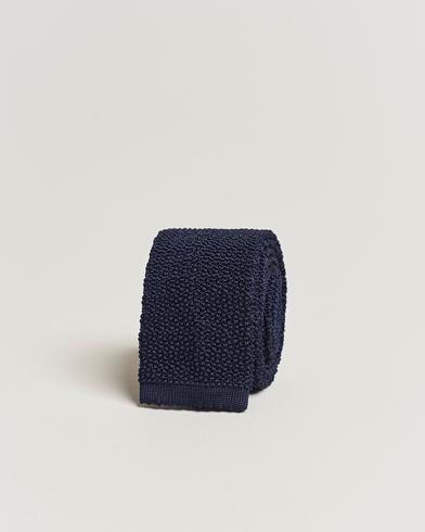 Drake's Knitted Silk 6.5 cm Tie Navy
