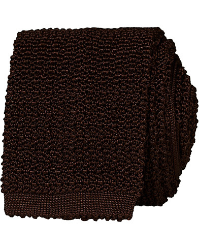 Drake's Knitted Silk 6.5 cm Tie Brown  i gruppen Assesoarer / Slips hos Care of Carl (14956310)