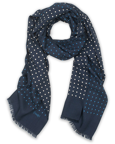 Drake's Wool/Silk Classic Spot Scarf Navy/White/Blue
