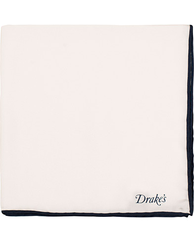 Drake's Silk Twill  Pocket Square White
