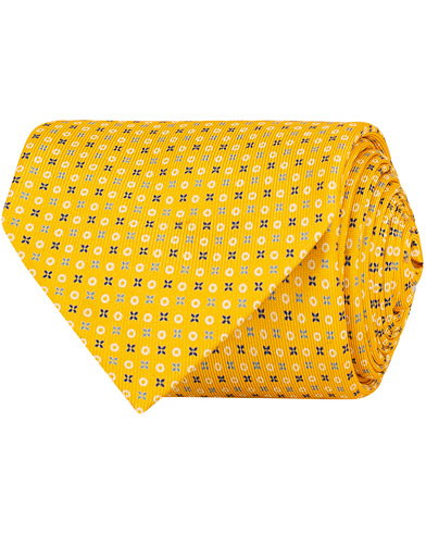 E. Marinella 7-Fold Printed Micro Pattern Silk Tie Bright Yellow 8 cm