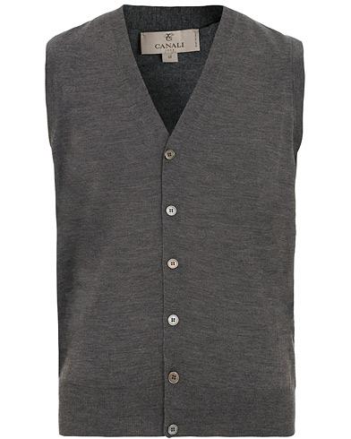 Canali Merino Wool Gilet Grey