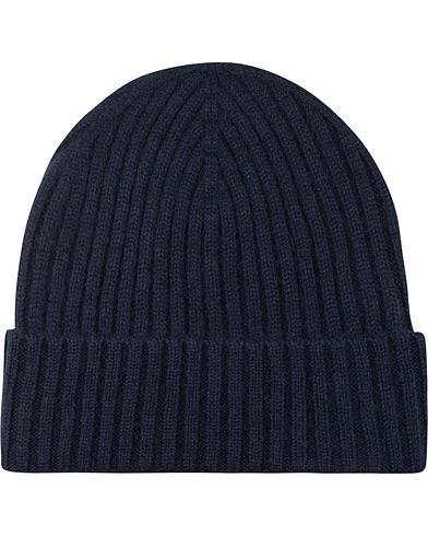 Amanda Christensen Rib Knitted Cashmere Cap Navy