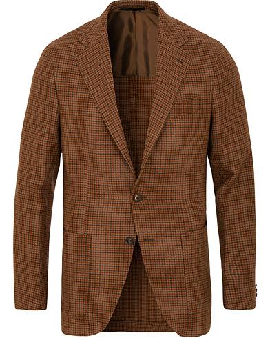 Caruso Aida Vintage Houndstooth Wool Blazer Brown